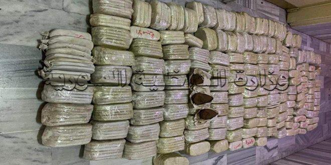 إدارة مكافحة المخدرات تحبط محاولة لإدخال كمية من مادة الحشيش المخدر إلى سورية