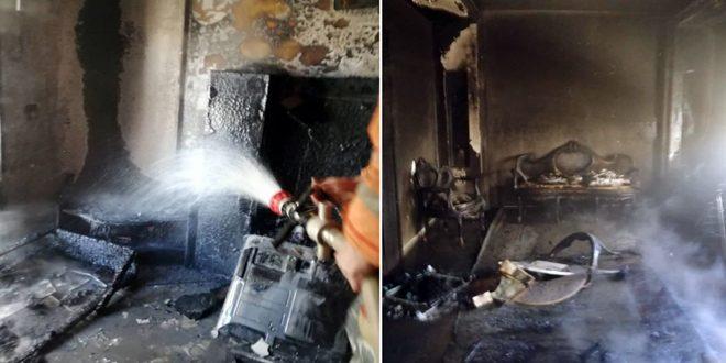 إخماد حريق ضمن منزل في مشروع دمر والأضرار مادية
