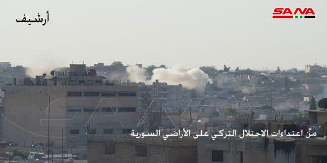 الاحتلال التركي يعتدي بالمدفعية على محيط تل أبيض وعين عيسى بريف الرقة